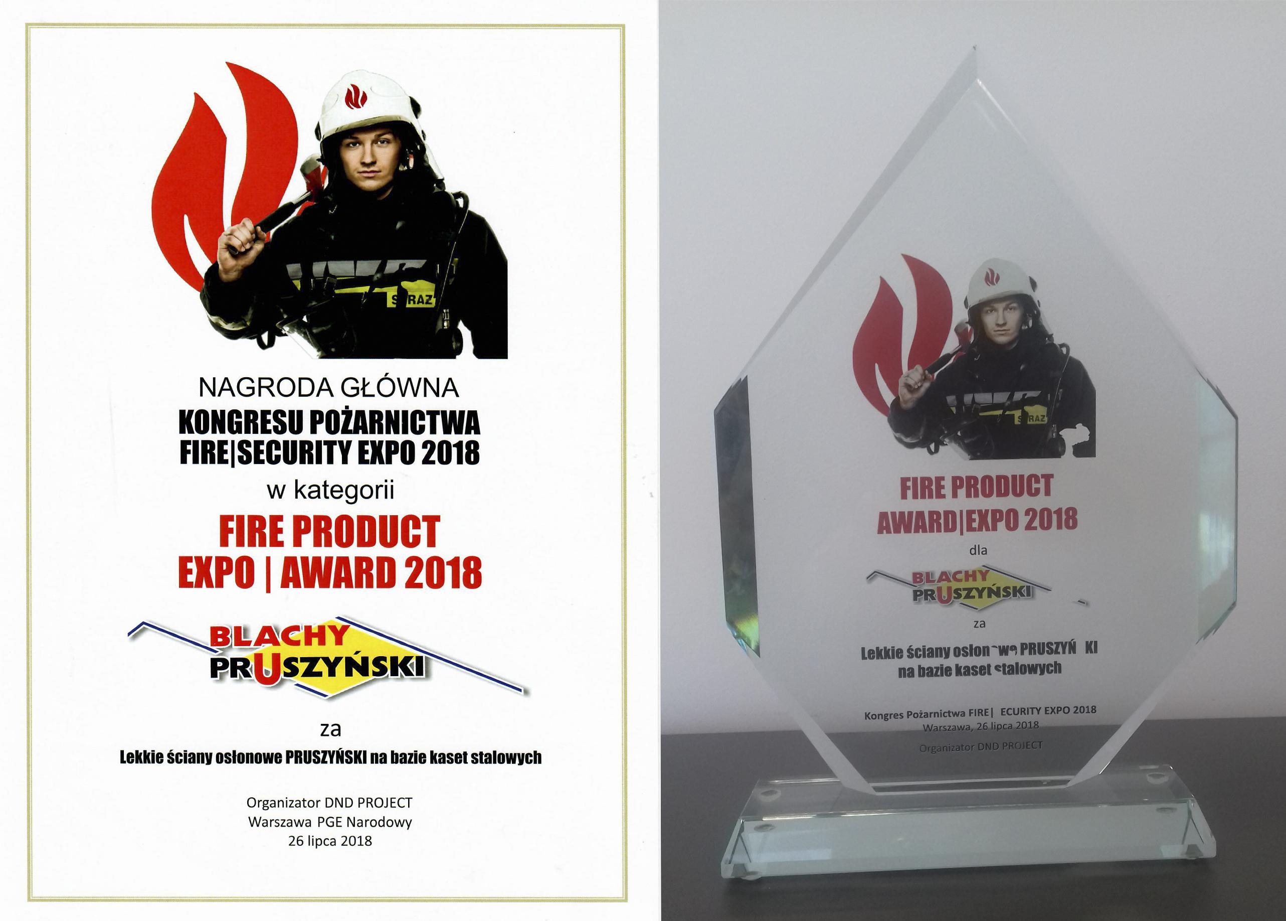 BLACHY PRUSZYŃSKI – NAGRODA GŁÓWNA KONGRESU POŻARNICTWA FIRE SECURITY EXPO 2018