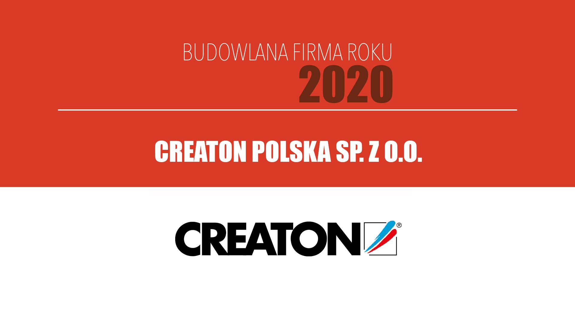 CREATON POLSKA SP. Z O.O. – Budowlana Firma Roku 2020