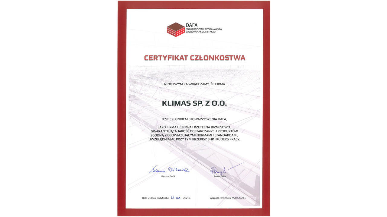 Klimas Wkręt-met z certyfikatem Stowarzyszenia DAFA 2021