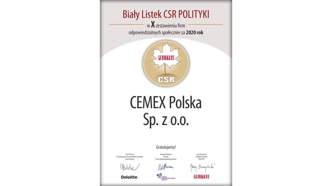 Biały Listek CSR dla CEMEX Polska